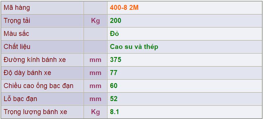 Thông số kỹ thuật cảu sản phẩm 400-8 2M của công ty cổ phần Làng Rùa