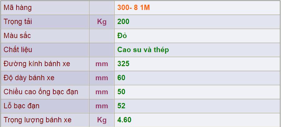 Thông số kỹ thuật cảu sản phẩm 300-8 1M của công ty cổ phần Làng Rùa