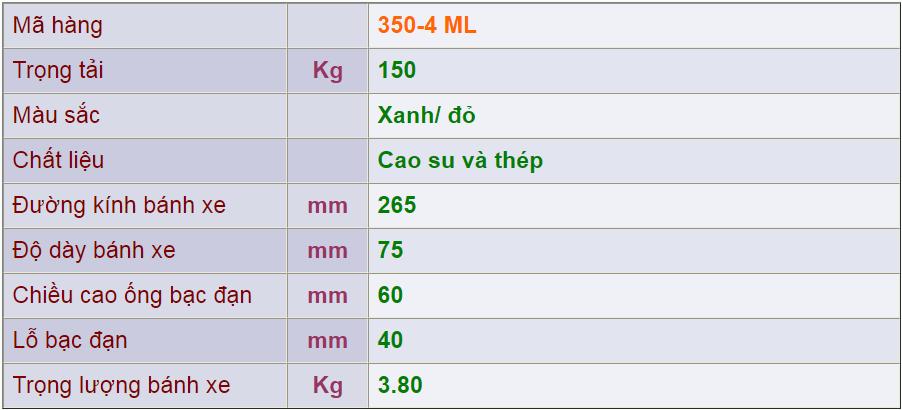 Thông số kỹ thuật của sản phẩm Bánh xe đẩy 350-4 ML của công ty cổ phần Làng Rùa