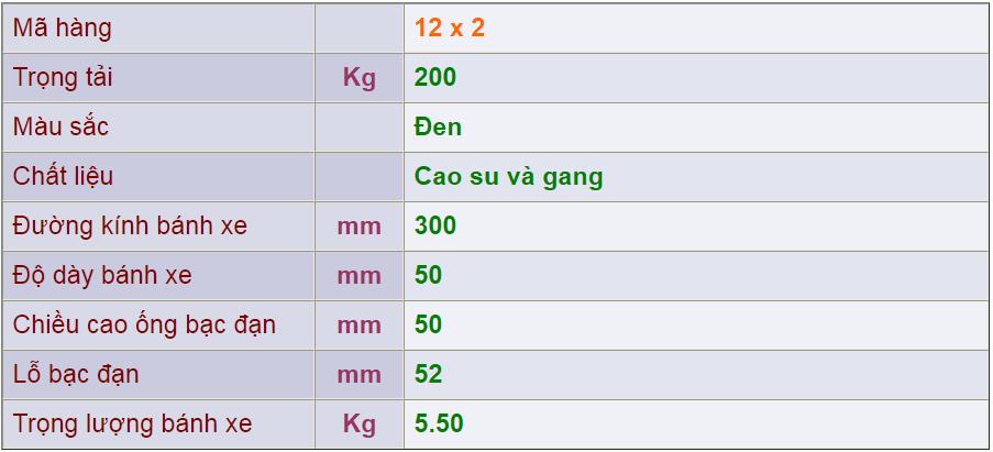 Thông số kỹ thuật của sản phẩm Bánh nòng gang 12x3 của công ty cổ phần Làng Rùa
