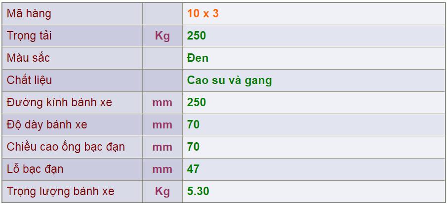 Thông số kỹ thuật của sản phẩm Bánh nòng gang 10x3 của công ty cổ phần Làng Rùa