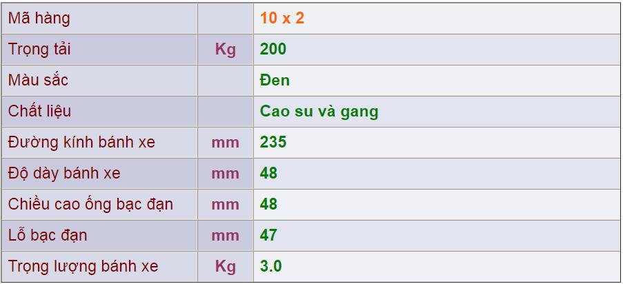 Thông số kỹ thuật của sản phẩm Bánh nòng gang 10x2 của công ty cổ phần Làng Rùa