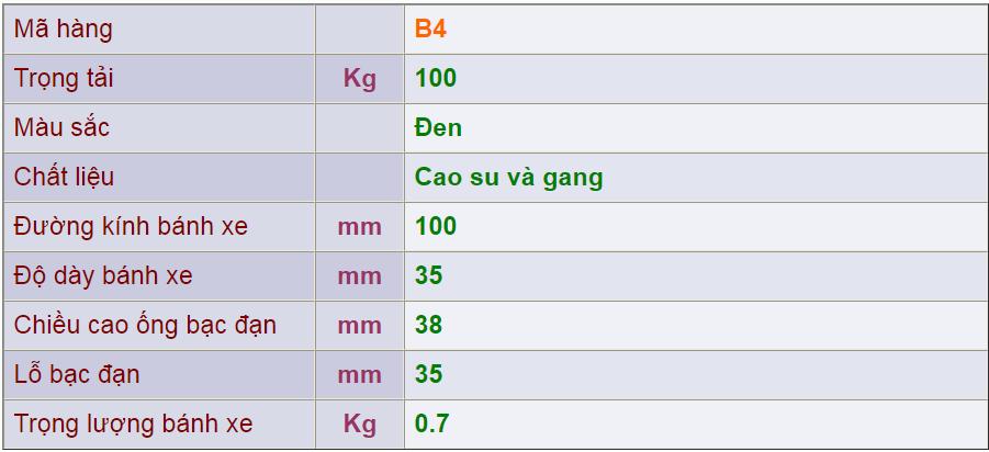 Thông số kỹ thuật của sản phẩm Bánh nòng gang B4của công ty cổ phần Làng Rùa