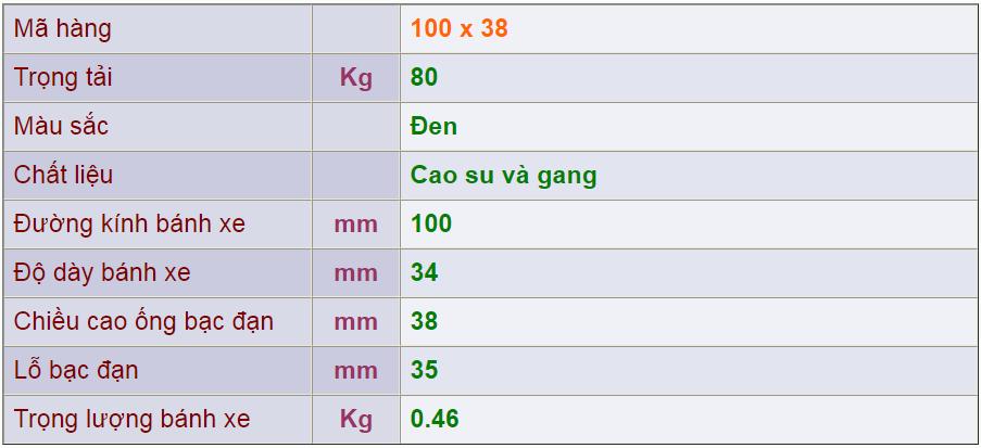 Thông số kỹ thuật của sản phẩm Bánh nòng gang 100x38 của công ty cổ phần Làng Rùa