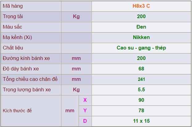 Thông số kỹ thuật của Càng bánh xe H8x3 cố định