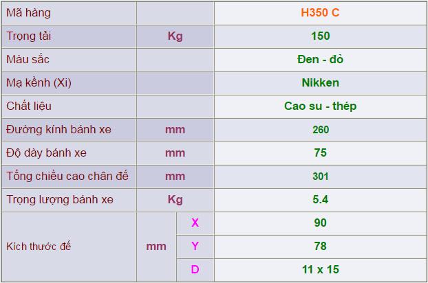 Thông số kỹ thuật của Càng bánh xe H350 cố định