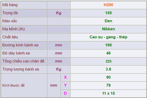 Thông số kỹ thuật của Càng bánh xe H200 di động