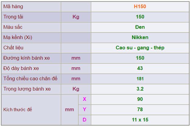 Thông số kỹ thuật của Càng bánh xe H150 di động