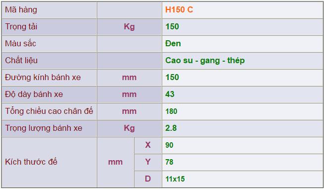 Thông số kỹ thuật của Càng bánh xe H150 cố định