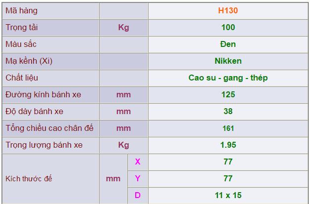 Thông số kỹ thuật của Càng bánh xe H130 di động