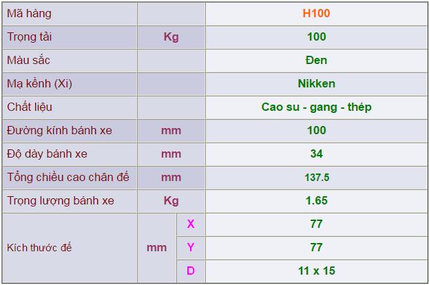 Thông số kỹ thuật của Càng bánh xe H100 di động