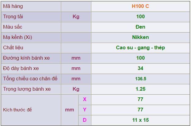 Thông số kỹ thuật của Càng bánh xe H100 cố định