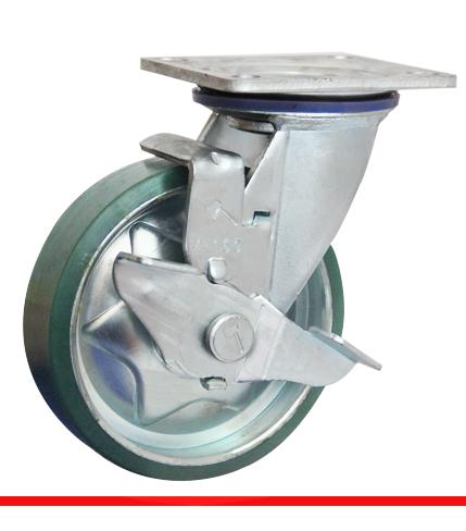Sản phẩm Càng bánh xe di động có khóa bánh nhựa PU M100CT