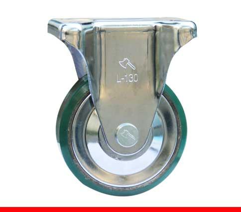 Sản phẩm Càng bánh xe L cố định, Bánh xe nhựa PU, nòng gang L130CPUG