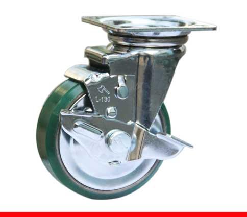 Sản phẩm Càng bánh xe L di động Bánh xe nhựa PU có khoá nòng gang L130PUGT