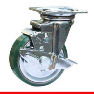 Sản phẩm Càng bánh xe L di động Bánh xe nhựa PU có khoá nòng gang L150PUGT