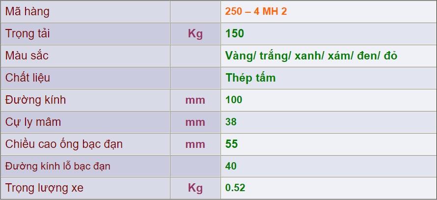 thông số kỹ thuật Mâm Sắt 250 – 4 MH 2