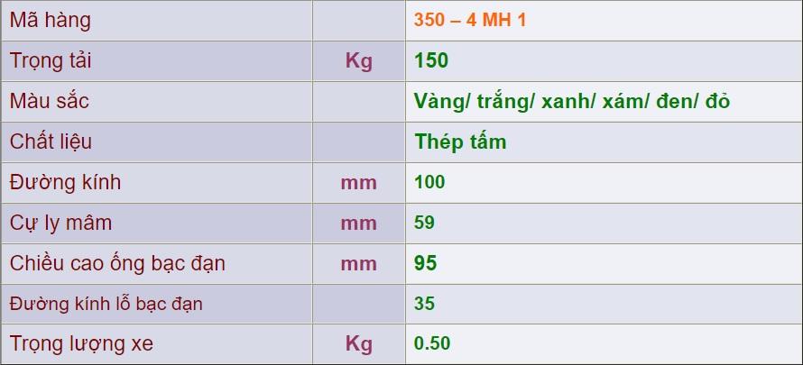 thông số kỹ thuật 350-4 mh 1