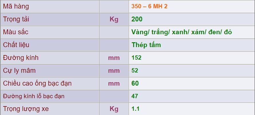 thông số kỹ thuật Mâm Sắt 350 – 6 MH 2