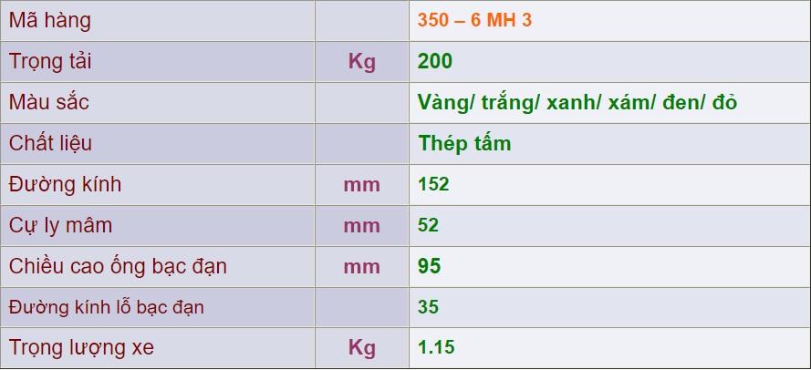 thông số kỹ thuật mâm sắt bánh xe 350-6 mh 3