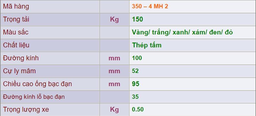 thông số lỹ thuật mâm sắt 400-8-mh2