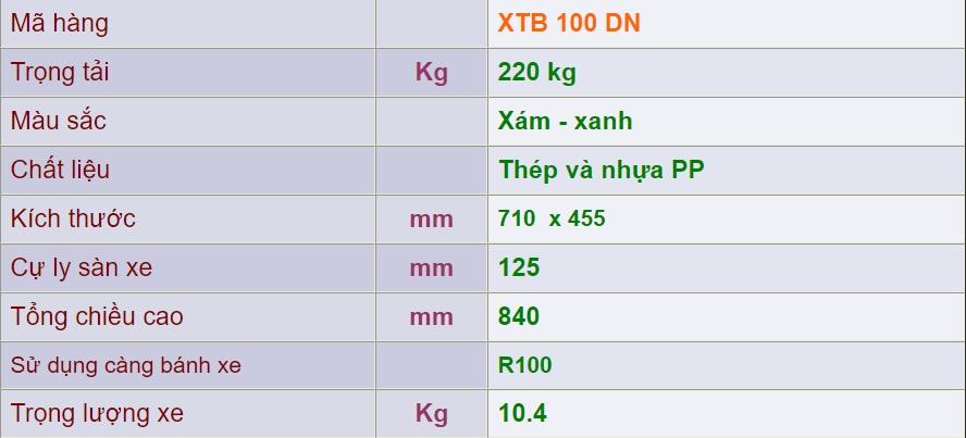 thông số kỹ thuật xe đẩy 4 bánh xtb 100 dn