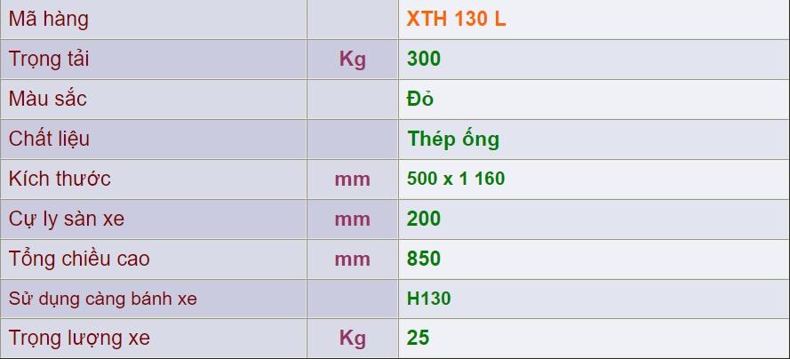 thông số kỹ thuật xe đẩy 4 bánh xth 130 l
