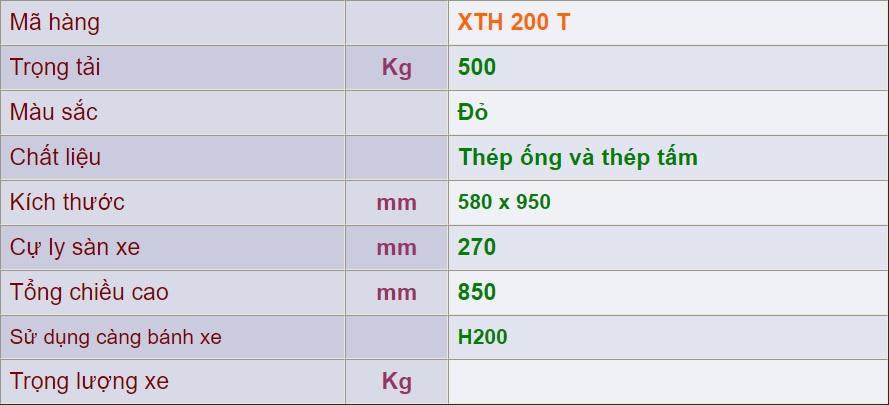 thông số kỹ thuật xth 200 t