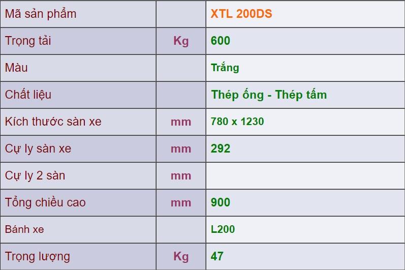 thông số kỹ thuật xe đẩy 4 bánh xth 200ds
