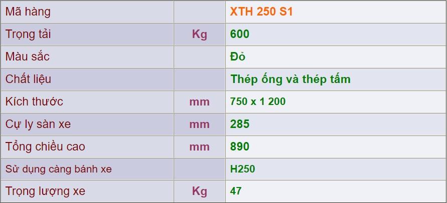 thông số xe đẩy 4 bánh xth 250 s1