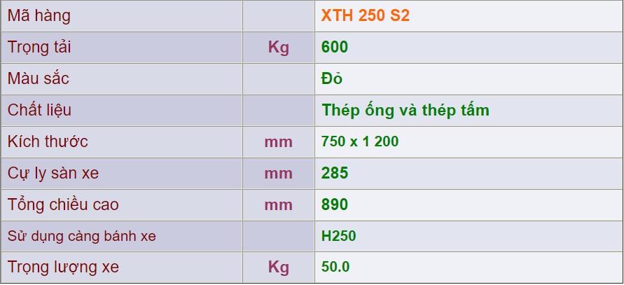 thông số kỹ thuật xe đẩy 4 bánh xth250-s2