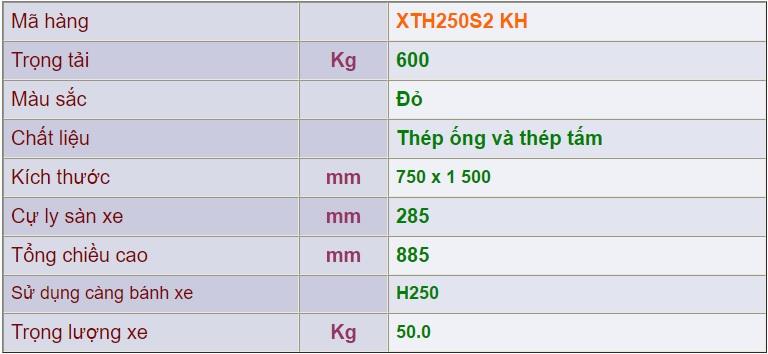 Thông số kỹ thuật xe đẩy 4 bánh xth250s2 kh