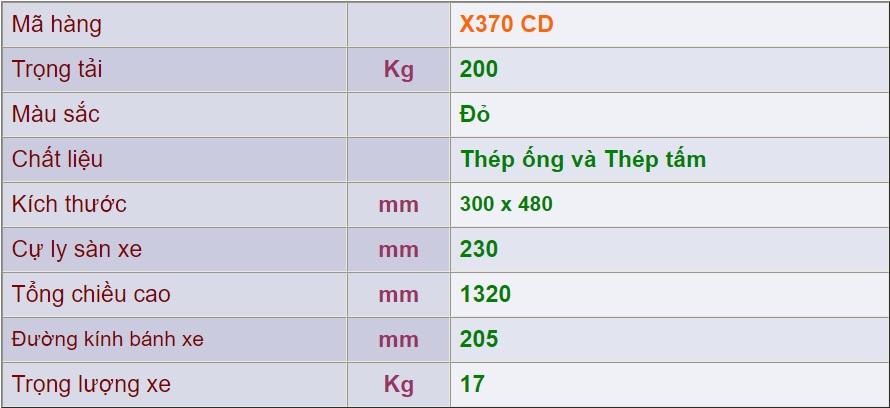 thông số xe đẩy 2 bánh x370cd