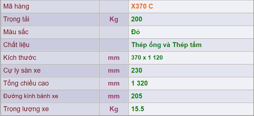 Thông số xe đẩy 2 bánh x370c