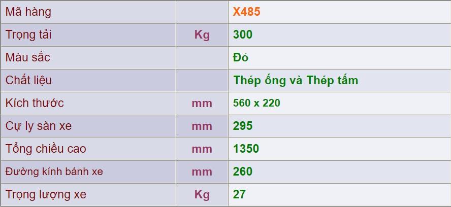 thông số xe đẩy 2 bánh x485
