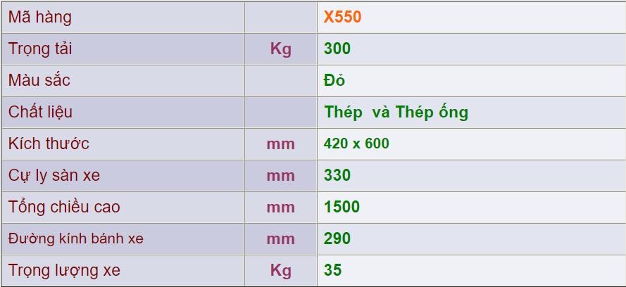 thông số xe đẩy 2 bánh x550
